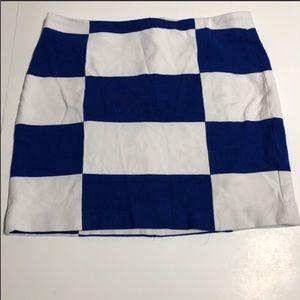 Banana Republic Blue White Checkered Mini Skirt